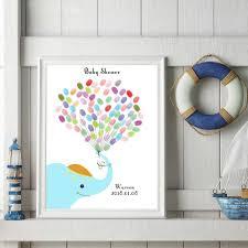 Elefante Azul De Dibujos Animados Diy Libro De Firmas De Invitados