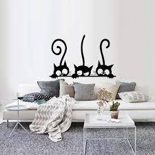 Diy Three Cats Wall Stickers Removable Living Room Decor Art Vinyl Mur Nicerin Best Goods Free Shipping