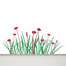 Grass Wall Decal Flowers Decal 47 In Grass Decal Wall Decal Etsy