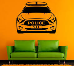 Police Car Wall Sticker Car Vinyl Decal Cars Stickers Wall Etsy
