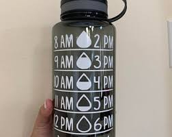 Water Bottle With Time Decal Etsy