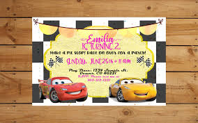 Cars 3 Party Invite Glitter And Sparkles For Girls Cruz