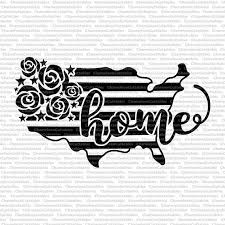 Usa Home Svg 4th Of July America Independence Day Usa Day Shirt Flowers Floral Stripes File Ve Vinyl Designs Silhouette Cameo Projects