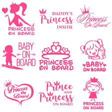 Princess On Board Car Sticker Baby Kids Girl Pink Funny Sticker On Car Decal Vinyl Car Sticker 3d Car Styling Stickers And Decal Car Stickers Aliexpress
