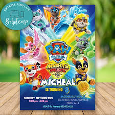 Editable Superhero Paw Patrol Birthday Invitaciones Instant Downlo