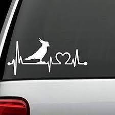 Amazon Com Bluegrass Decals K1102 Parrot Cockatoo Bird Heartbeat Lifeline Decal Sticker Automotive