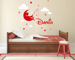 Fishing Boys Name And Clouds Wall Decal Customized Name Decal Fishing Boy Wall Decal Nursery Wall
