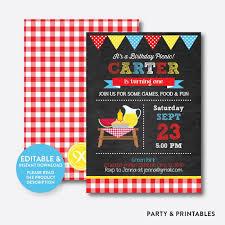 Summer Picnic Chalkboard Kids Birthday Invitation Editable