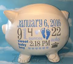 personalized piggy bank baby boy piggy