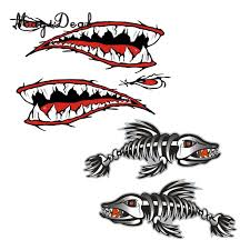 Graphics Decals 4x Kayak Decals Fish Skeleton Shark Mouth Fishing Boat Car Surf Ski Stickers Parts Accessories Cub Co Jp
