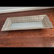 large mirrored tray basket center piece