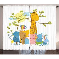 Kids Boys Curtains 2 Panels Set Zoo Animals Sitting Under A Tree Cartoon Style Giraffe Pig