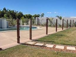 Timber Post Glass Pool Fence Google Search Glass Pool Fencing Glass Pool Pool Gate