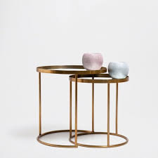zara home nested tables gold and glass