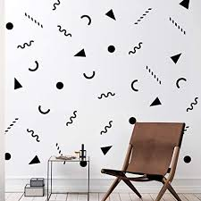Amazon Com Set Of 25 Vinyl Wall Art Decal 90 S Patterns 1 6 To 6 Each Cool Minimal Adhesive Sticker Modern Geometric Design For Home Work Office Bedroom Living Room Store