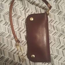 handmade leather long wallet biker