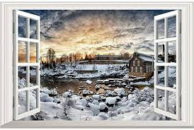 Amazon Com Home Find Fake Winter Window Wall Decals Winter 3d Window Wall Decals Winter Stickers For Walls Lake Decor Removable Self Adhesive Vinyl Arts Living Room Bedroom Home Murals 23 6 Inches X