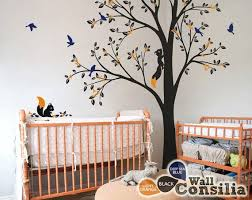 Large Tree Wall Decal Nursery Tree Wall Sticker Full Corner Etsy Tree Wall Nursery Wall Decals Tree Nursery Wall Decor