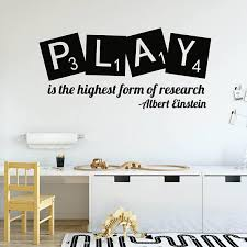 Play Is The Highest Form Of Research Wall Quotes Decals Inspirational Wall Decals Quote Decals