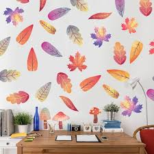 Autumn Leaves Watercolor Wall Decal Kit By Chromantics