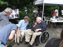Perry Deane Young sharing a moment with Reynolds Price at the Two of the  Missing release party in 2009. | In this moment