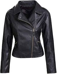 faux leather pu short jacket coat