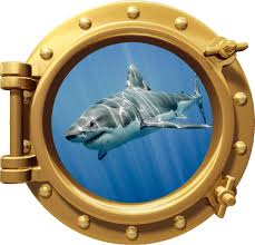 Amazon Com 12 Porthole 3d Window Wall Decal Shark 4 Bronze Port Scape Jaws Great White Megalodon Instant Under The Sea Water Ocean Fish Childrens Wall Art Kids Room Nursery Decor Removable Fabric