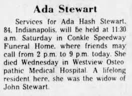 Ada Hash Stewart Death 1983 - Newspapers.com