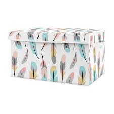 Turquoise And Coral Boho Girl Baby Nursery Or Kids Room Small Fabric Toy Bin Storage Box Chest For Feather Collection By Sweet Jojo Designs Only 37 99