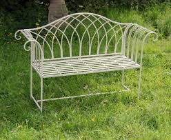 antique cream shabby chic garden bench