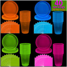 neon plates 9 cups 12 oz
