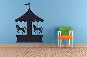 Amazon Com Amusement Park Horse Carousel Carnival Circus Fun Fair Wall Sticker Art Decal For Girls Boys Kids Room Bedroom Nursery Kindergarten Playroom Home Decor Sticker Wall Vinyl Decoration Size 20x18 Inch Arts
