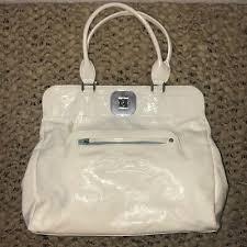 longchamp gatsby white patent satchel x