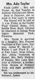 Obituary for Ada Taylor (Aged 84) - Newspapers.com