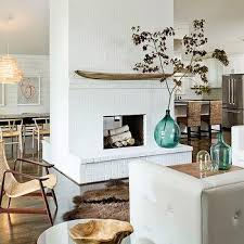 two sided brick fireplace design ideas