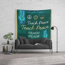 Teach Peace Blackboard Symbols Wall Tapestry By Profilesincolor Society6