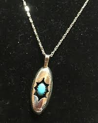 """NAVAJO FELIX PERRY STERLING SILVER ETCHED SHADOWBOX TURQUOISE 1 3/16""""  necklace - $34.97 