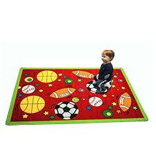 Kids Sports Area Rug In Red 3 X 5 Children Area Rug For Playroom Nursery Non Skid Gel Backing 39 X 58 Walmart Com Walmart Com