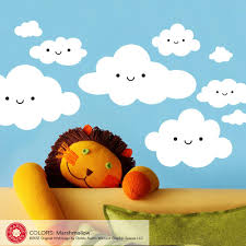 Happy Clouds Wall Decal Kawaii Baby Nursery Kids Graphic Spaces