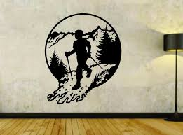 Nordic Mountain Climber Hiking Hiker Vinyl Wall Decal Sticker Car Wind Ezwalldecals