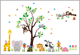Flowery Tree Jungle Nursery Decals Girl S Themed Baby Stickers Nurserydecals4you