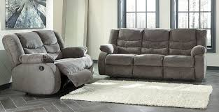 2 pc tullen gray fabric sofa
