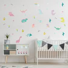Cartoon Dinosaur Wall Sticker Kids Room Nursery Bedroom Living Room Mural Art Vinyl Decals Macaron Kindergarten Diy Wallpaper Ho Leather Bag