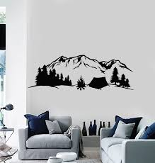 Vinyl Wall Decal Mountains Nature Tourism Travel Camping Tent Forest S Wallstickers4you