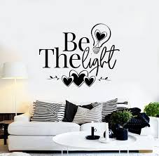 Vinyl Wall Decal Inspirational Phrase Be The Light Hearts Lamp Bulb St Wallstickers4you