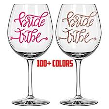 Amazon Com Celycasy Bride Tribe Wine Glass Decals Bachelorette Party Custom Decal Sticker Wedding Decals Tumbler Decals Wine Tumbler Decal Champagne Flute Decal Baby