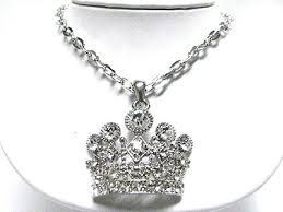 crystal large crown pendant necklace