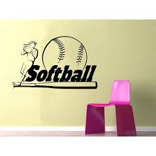 Shop Softball Wall Decal Sport Wall Decals Vinyl Stickers Teens Girl Nursery Sticker Decal Size 22x26 Color Black Overstock 14092017