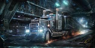 gray freight truck digital wallpaper