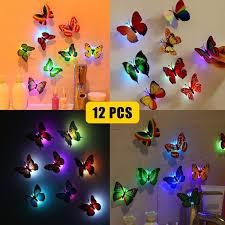 12 Pack 3d Butterfly Wall Stickers Led Light Removable Butterfly Wall Decals Colorful Butterflies Art Decor Wall Stickers Murals For Kids Baby Boy Girls Bedroom Classroom Offices Tv Background Walmart Com Walmart Com